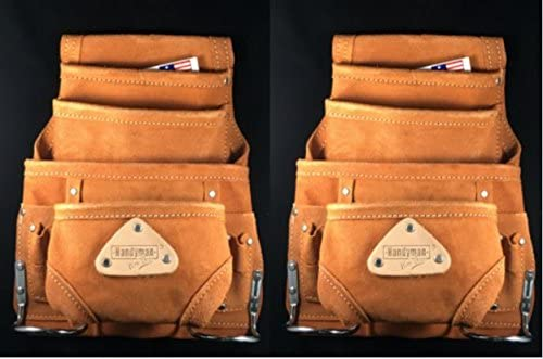 10 Pocket LEATHER tool bag Waist Belt Pouch with Hammer Holders for Carpenters Electricians 2- PACK 100 split leather.