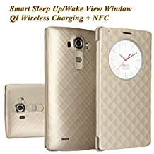 LG G4 Case, Aomax Smart Quick Circle wake up/sleep view window, Wireless Charger Qi Standard Wireless Charging receiver IC Chip Attached With NFC Function Cover For LG G4 (Gold)