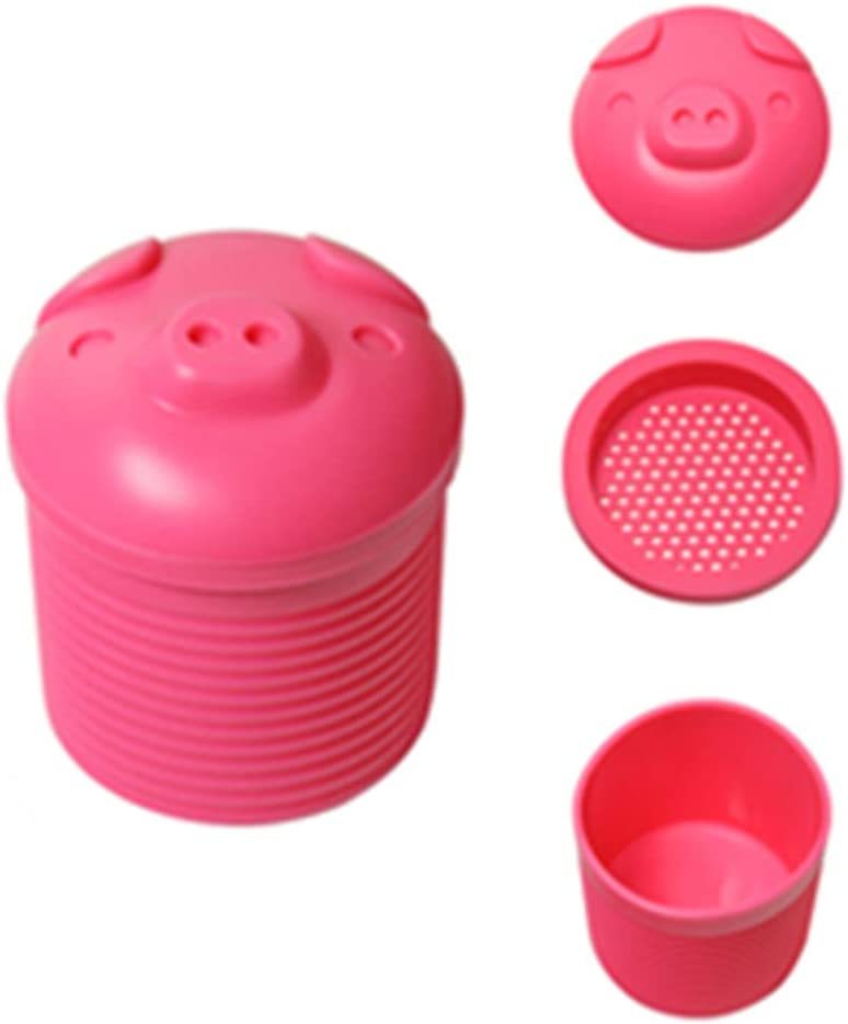 Bacon Grease Container with Strainer-Bacon Grease Strainer Silicone Collector,The Piggy Grease Can for Kitchen Frying Oil and Cooking Grease Storage. (Pink)