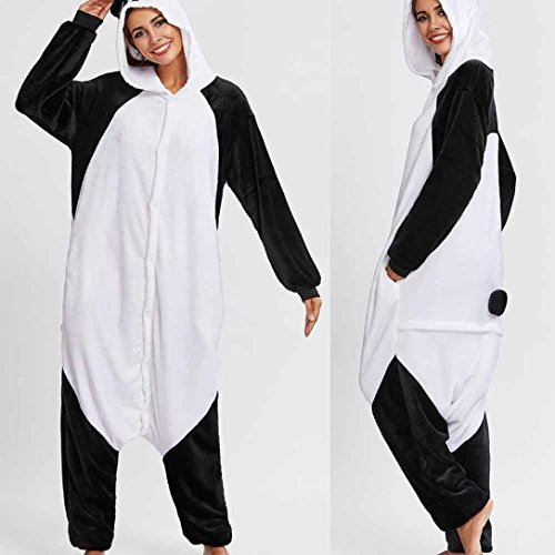 WensLTD Christmas Pajamas Flannel Panda Animal Pajama Onesies Cosplay Homewear Costume (XL, Black) (Overlay Onesie Dress)