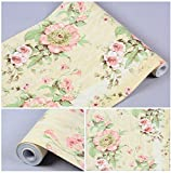 floral shelf liner adhesive - Contact Paper Floral Self Adhesive Decorative Shelf Liner Decorative Wallpaper Stick and Peel for Kitchen Cabinets Drawers Shelves Countertops Windows Walls Crafts 17.7