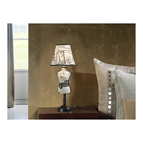 Schuller Spain 764985I4L Vintage White Mannequin Table Lamp Black 1 Light Living Room, bed room, Study, Bedroom LED, Small Vogue Mannequin table Lamp | ideas4lighting by Schuller