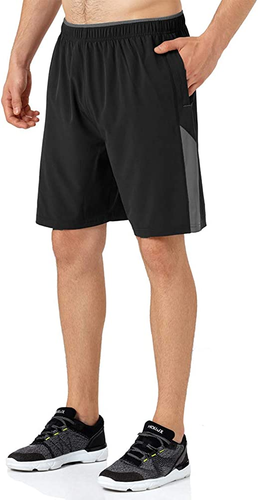 FEDTOSING Mens Workout Running Shorts Quick Dry Training Athletic Gym Shorts with Zipper Pockets