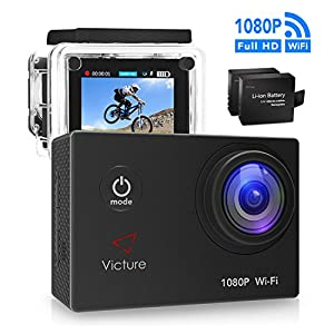 Victure Action Camera 4K WIFI Underwater Diving Camera 16MP Waterproof Sports Cam 170° Wide Angel 2 Inch LCD Display with 2 Pcs Rechargeable Batteries and Accessories Kits