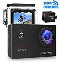 Victure Action Camera WIFI 14MP 1080P HD Waterproof Sports Camera 30M Underwater Diving Camera Action Cam 2 Inch LCD Screen 170° Wide Angle Lens with 2 Pcs Rechargeable Batteries and Accessories Kits