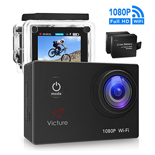 Victure WIFI Sports Action Camera 14MP Full HD 1080P Waterproof Motorcycle Helmet Cams 30M Underwater Diving Camcorder with 2 Inch LCD Screen, 170° Wide Angle Lens and 2 Pcs Rechargeable Batteries Action Cameras Victure
