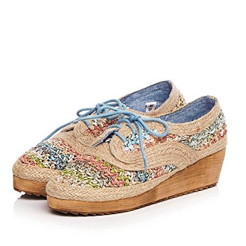 de Zapatos para y azul sin AdeeSu mujer punta Mocasines de tela sintéticos SDC03747 punta sólidos con cierre q6Bw8H7f
