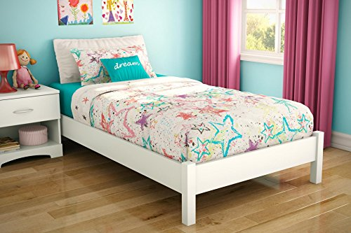 South Shore Sandbox Collection 39-Inch Twin Platform Bed, Pure White