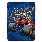 "Nickelodeon Blaze Fast Track 62"" x 90"" Super Soft, Reversible Microfiber Fleece Blanket"