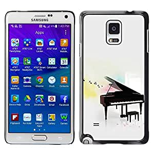 LECELL--Funda protectora / Cubierta / Piel For Samsung Galaxy Note 4 SM-N910 -- Music Play Instrument Notes White --