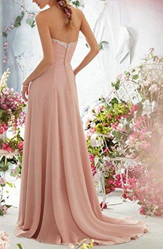 Herz CoCogirls Lang Ausschnitt Ballkleid Perlen Linie A Chiffon Brautjungfernkleid Abendkleid Blush rZcZqSXw