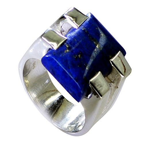 (Natural Lapis Lazuli Ring For Women Prong Cut Sterling Silver Rectangle Shape Fashion 5,6,7,8,9,10,11,12)