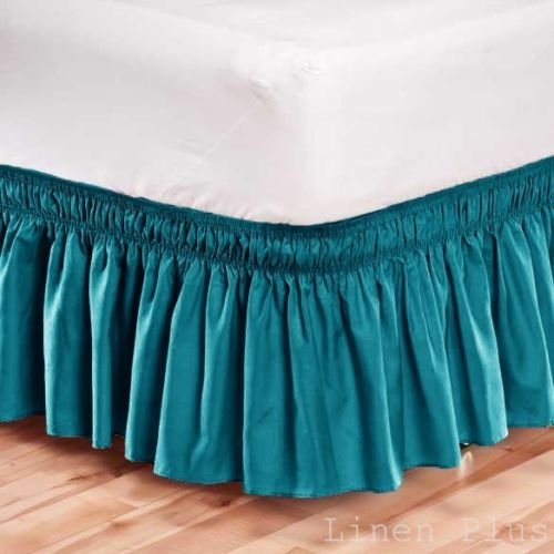 Elastic Bed Skirt Dust Ruffle Easy Fit Wrap Around Turquoise Color Queen Size
