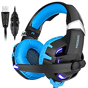 ONIKUMA Gaming Headset for PC & PS4 & MAC Virtual 7.1 USB Surround Stereo Wired Over-ear Headphones With Mic, Noise Isolating, Separate Volume Controller, Cool LED (K2 Blue)