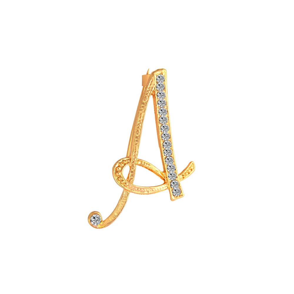 WLLAY Gold Alloy Crystal 26 Alphabet English Letters Initial Personalized Charms Brooch Pin Jewelry Gift