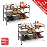 Seville Classics 3-Tier Stackable 9-Pair Woodgrain Resin Slat Shelf Sturdy Metal Frame Shoe Storage Rack Organizer (2-Pack), Perfect for Bedroom, Closet, Entryway, Dorm Room, Espresso