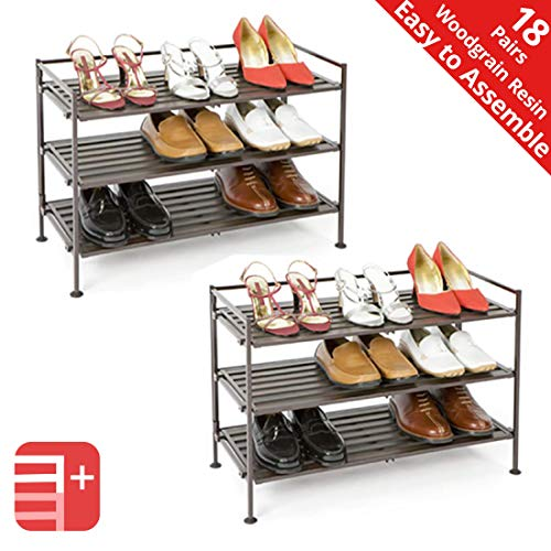 Seville Classics 3-Tier Stackable 9-Pair Woodgrain Resin