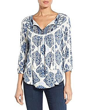 Women's Lucky Brand Embroidered TIle Print Top, Blue Multi