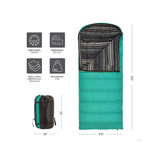 TETON Sports Celsius Regular Sleeping Bag; Great for Family Camping; Free Compression Sack 5