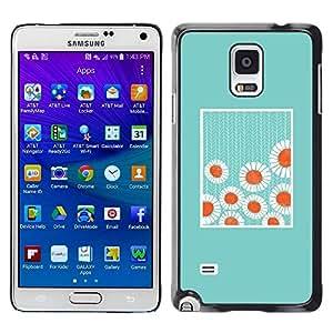 Estuche Cubierta Shell Smartphone estuche protector duro para el teléfono móvil Caso Samsung Galaxy Note 4 SM-N910 / CECELL Phone case / / Minimalist Baby Blue Flowers /