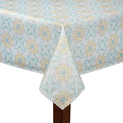 Waverly Easy Care Floral Tablecloth Astrid Teal/Yellow l100% Polyester 60 x 102