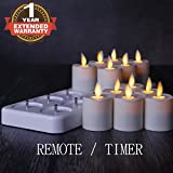 NONNO&ZGF Rechargeable Flameless Votives Moving Flame Wick LED Tealight Candles with Charging Base and Remote Control, Set of 12