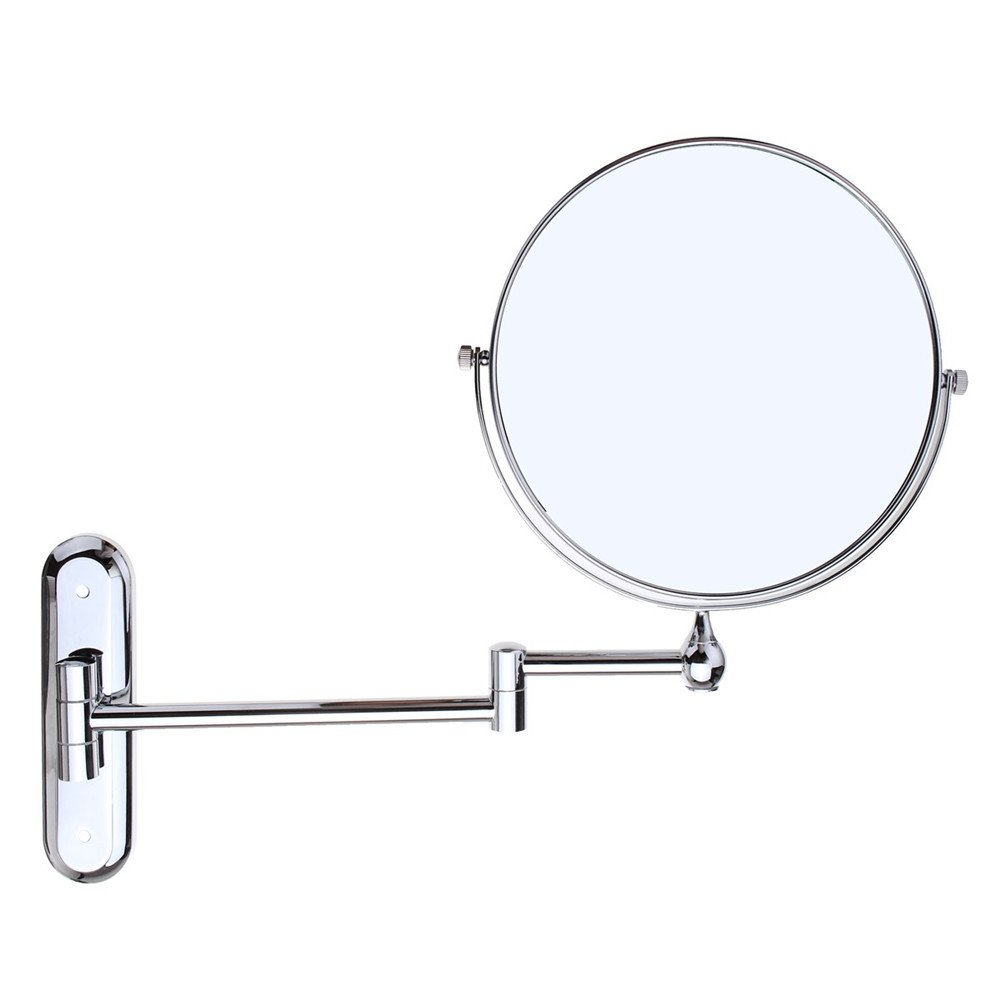 GF Wood Cosmetic Double-Sided 10X Magnifying Mirrors Chrome Round 8'' Wall Mirror Foldable Vanity Mounted Bathroom Toilet Mirror Shaving
