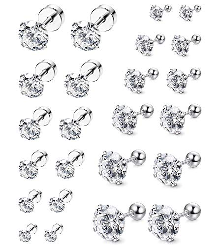 (ORAZIO 12 Pairs 20G Stainless Steel Ear Stud Piercing Barbell Studs Earrings Round Cubic Zirconia Inlaid (E:12 Pairs,White 20G(0.8MM)))