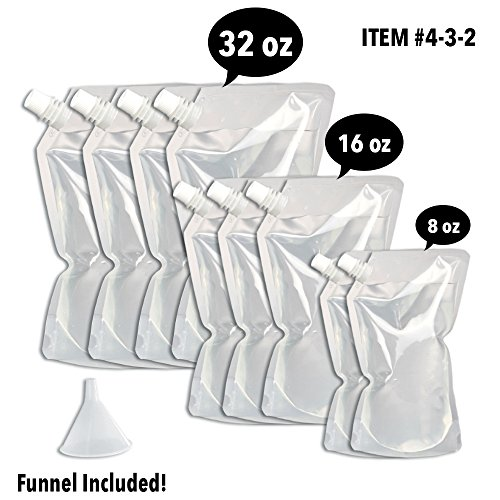 Concealable And Reusable Cruise Flask Kit - Sneak Alcohol Anywhere - 4 x 32 oz + 3 x 16 oz + 2 x 8 oz + 1 funnel