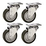 4'' Stainless Steel Swivel Casters - Quality Service Caster Non-marking Polyurethane Wheel -Set of 4