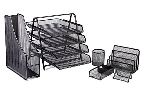 Office Desk Accessories Mesh Organizer - 4 Tier File Tray and 3 Upright Sections for Folder, Paper, Letter - Supplies Holder for Pens, Card, Black - 6 Piece Set