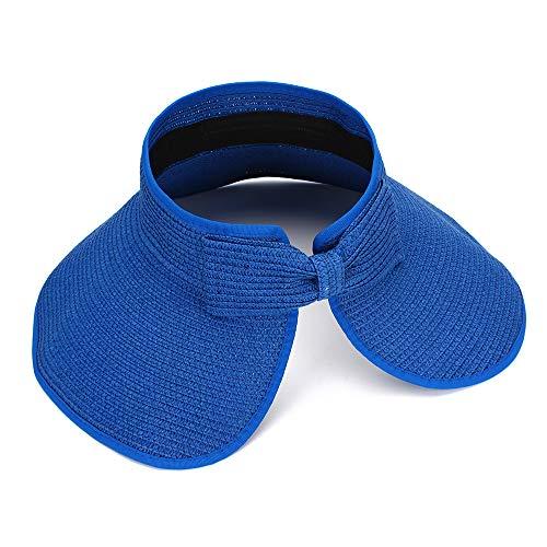 MK MATT KEELY Women Summer Sun Hat Lady's Portable Beach Visor Bowknot Straw Hat Blue