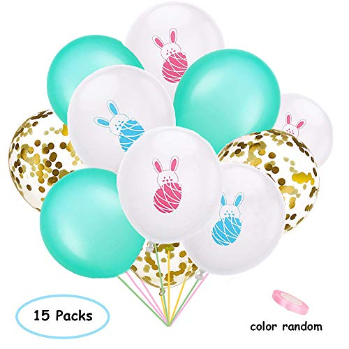 Daliyfu Rabbit Birthday Easter Balloon Party Decoration Set, Include 15 Pieces Rabbit Bunny Pattern Balloons Colorful Latex Balloons Confetti Balloons with Ribbons for Baby Shower/Birthday Party Decorations Easter Party Supplies