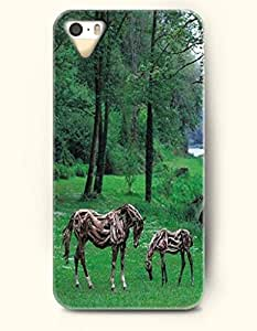 Apple iPhone 4/4S Cover Two Wooden Horse Feeding On Grass - Hard Back Plastic Case / Funny Design / OOFIT Authentic