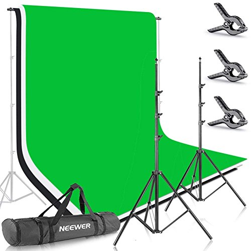 Neewer Photo Studio 8.5 X 10 feet/2.6 X 3 meters Backdrop Stand Background Support System with 6 X 9 feet/1.8 X 2.8 meters Fabric Backdrop (White, Black, Green) for Portrait Product Video Shooting