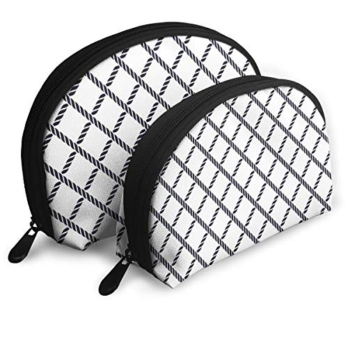 Shell Shape Makeup Bag Set Portable Purse Travel Cosmetic Pouch,Checkered Rope Pattern Maritime Themed Fish Net Shape Nautical Inspirations,Women Toiletry Clutch (Inspirations Rope)