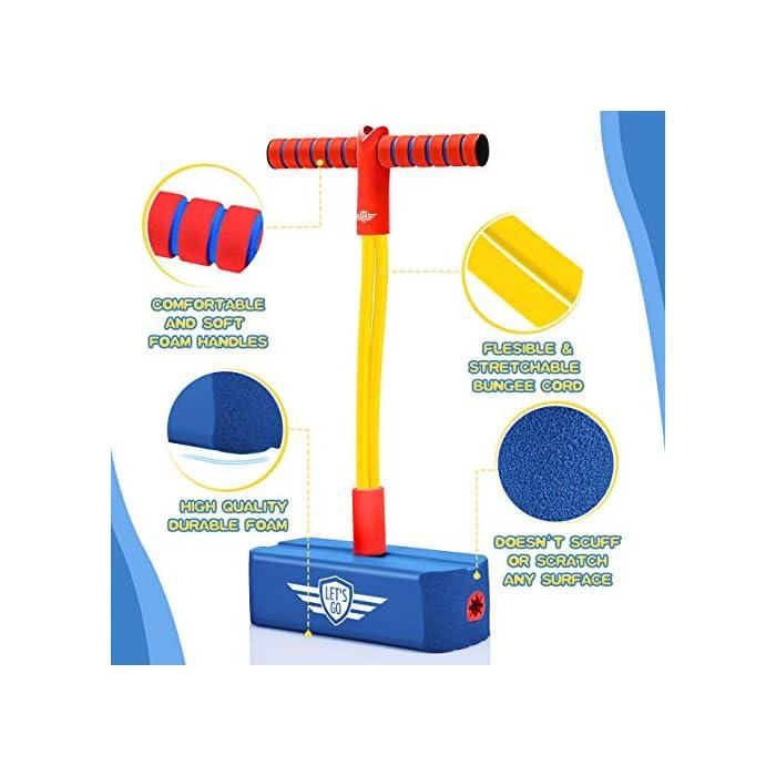 51fh2trgBqL Seguro y duradero: con mangos cómodos y una base acolchada hecha de material de espuma duradera y antideslizante, su hijo puede usar con seguridad nuestro puente de pogo en interiores y exteriores. ¡Ni siquiera dejará marcas de desgaste en las superficies como los pisos de madera dura! Habilidades de entrenamiento: el puente de espuma pogo es una excelente manera de ayudar a entrenar la coordinación ojo-mano y las habilidades motoras gruesas de su pequeño, lo que puede llevar a una mayor destreza y equilibrio. ¡Promueve la actividad saludable y al mismo tiempo es una diversión increíble! Diversión sin fin: el jersey de pogo de espuma es un juguete divertido y emocionante que tiene un adorable squeaker incluido en la base, que puede hacer un sonido divertido con cada salto. ¡Es aún más divertido para tus hijos! ¡Así que sus hijos estarán activos durante horas y nunca se detendrán en Hop! ¡Salto! ¡Salto!