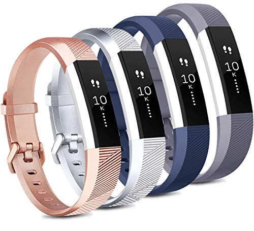 Tobfit 4 Pack Bands Compatible with Fitbit Alta/Alta HR Bands, Soft Sport Silicone Replacement Wristbands for Women Men (Small, Blue/Rose Gold/Silver/Gray)