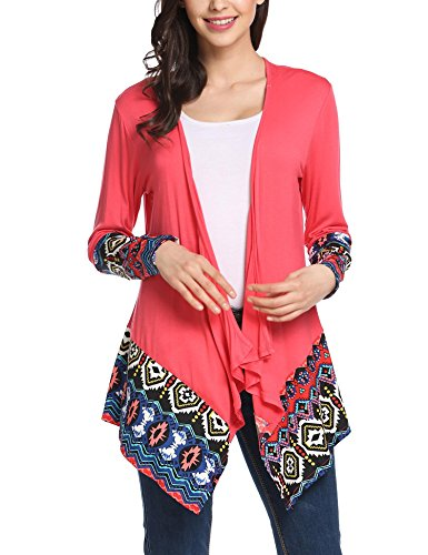 Bulges Women Long Sleeve Paterned Irregular Floral Print Casual Tunic Cardigan S XXL