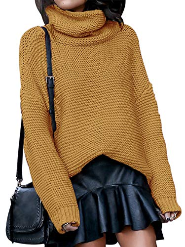 Litmoky Women Winter Baggy Knitted Sweaters Solid Color High Neck Long Sleeve Pullover Jumper Tops Yellow S