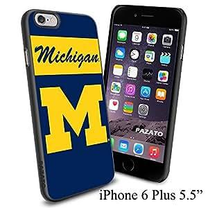 "NCAA M MICHIGAN , Cool iPhone 6 Plus (6+ , 5.5"") Smartphone Case Cover Collector iphone TPU Rubber Case Black"