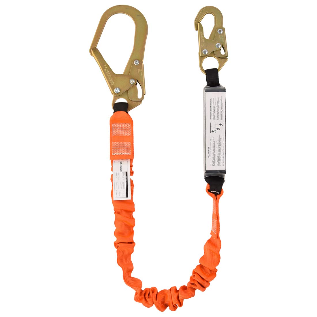 WELKFORDER Single Leg 6-Foot Fall Protection Shock Absorber Stretch Safety Lanyard with Snap & Rebar Hook Connectors ANSI Z359.13-2013 Complaint