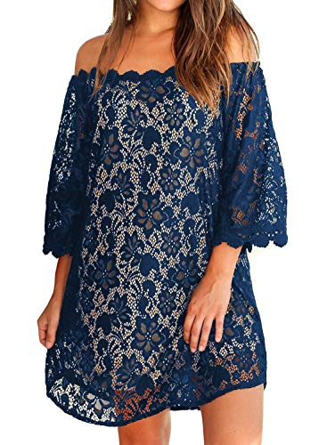 MIHOLL Women's Off Shoulder Lace Casual Swing Summer Dresses (X-Large, Navy)