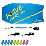 Own the Wave 41' Bodyboard Pack for Adults and Kids - HDPE Slick Bottom & EPS Core - Lightweight Bodyboard Perfect for Surfing - Comes with Coiled Leash and Swim Fin Savers (Blue/Yellow)
