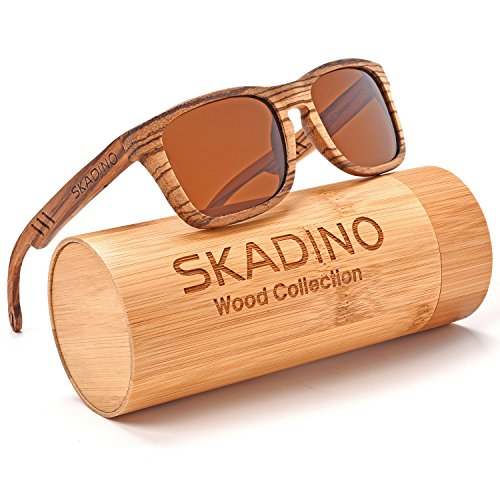 SKADINO Wood Sunglasses for Women&Men with Polarized lenses-Handmade Floating Wood Shades-Zebra Wood with Brown Lens - Reflective Bans Ray