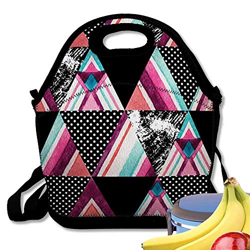 (Insulated Neoprene Lunch Bag Abstract Ornate Triangles Geometric Triangle Shapes Aztec Ornament Grunge Polka Dot Hand Painted Patchwork Reusable Soft Lunch Tote for Work and School )