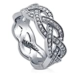 BERRICLE Rhodium Plated Sterling Silver Cubic Zirconia CZ Woven Half Eternity Band Ring Size 8.5