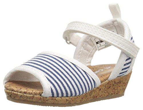 Stripe Espadrille Sandal (carter's Madison Girl's Wedge, Blue/White, 10 M US Toddler)