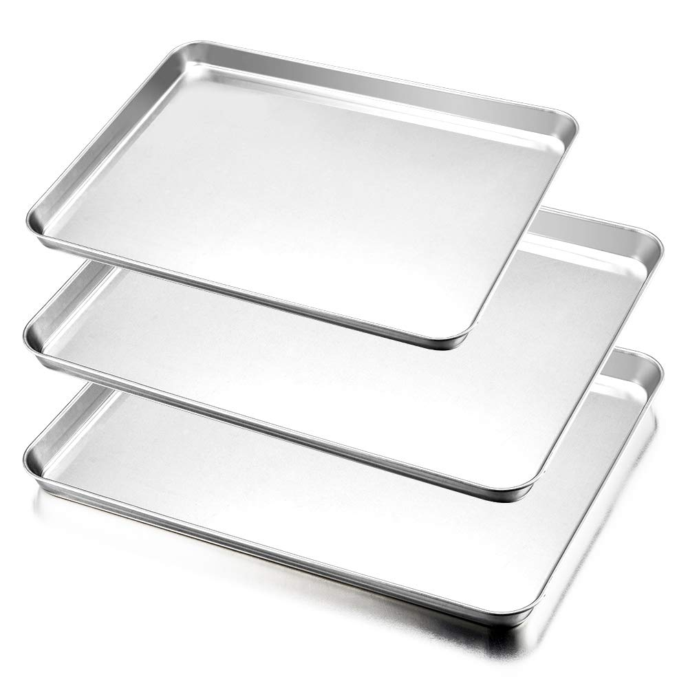 Baking Sheet Pan Set of 3, E-far Stainless Steel Oven Tray Cookie Sheet, Rimmed & Rectangle Size, Non Toxic & Rust Free, Mirror Polish & Easy Clean, Dishwasher Safe - 3 Pieces