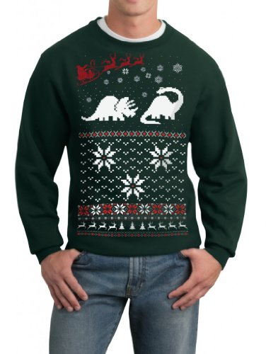 Skip N' Whistle Adult Ugly Christmas Sweater Santa Dinosaur Pullover Sweatshirt Small Forest Green